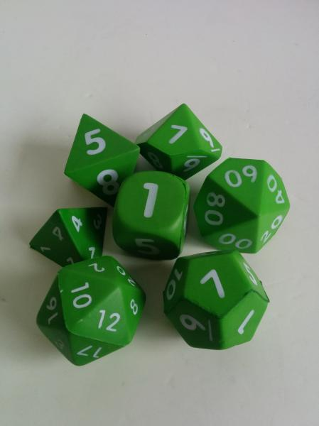 Game Accessories: Squishy Polyhedral 7-Die Set ( Light Green)