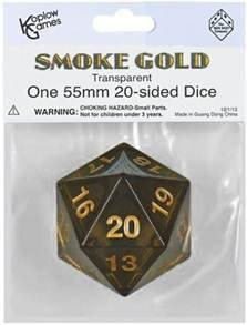 Single Dice: 55mm Smoke Gold Transparent Countdown D20  (1)