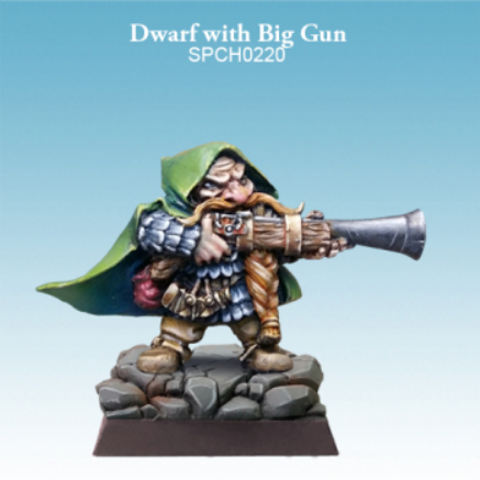 28mm Fantasy Miniatures: Dwarf with Big Gun