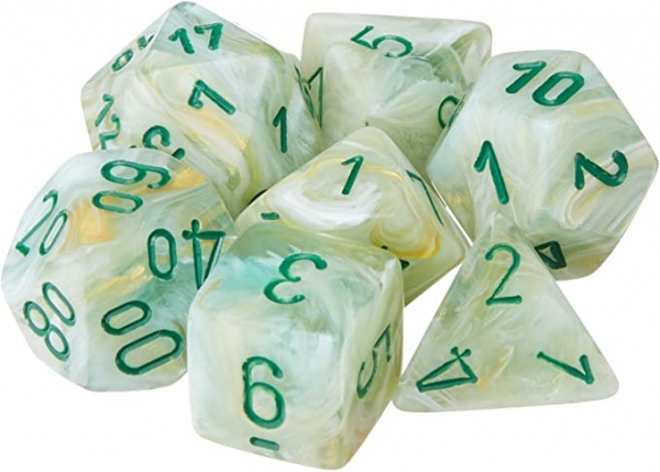 Chessex RPG Dice Sets: Menagerie #8  Green/Dark Green Marble Polyhedral 7-Die Set
