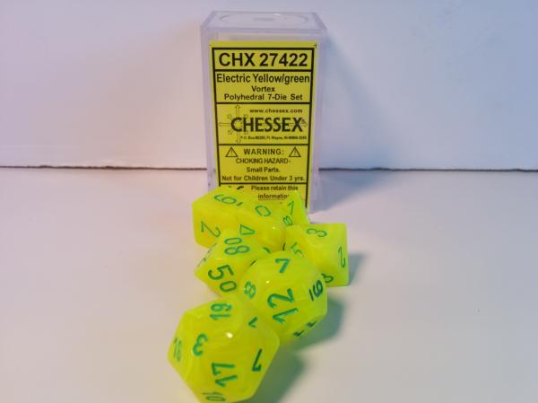 Chessex RPG Dice Sets: Menagerie #8 Electric Yellow/Green Vortex  Polyhedral 7-Die Set