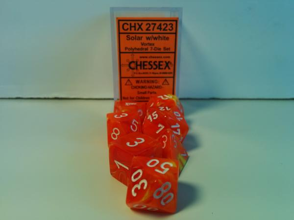 Chessex RPG Dice Sets: Menagerie #8 Solar/White Vortex Polyhedral 7-Die Set