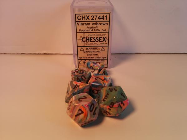 Chessex RPG Dice Sets: Menagerie #8 Vibrant/Brown Festive Polyhedral 7-Die Set