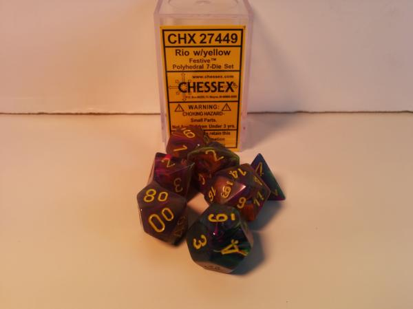 Chessex RPG Dice Sets: Menagerie #8 Rio/Yellow Festive Polyhedral 7-Die Set