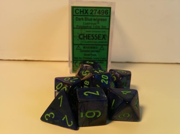 Chessex RPG Dice Sets: Menagerie #8 Dark Blue/Green Lustrous Polyhedral 7-Die Set