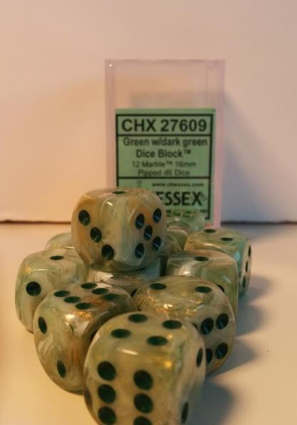 Chessex Dice Sets: Menagerie #8 Green/Dark Green Marble 16mm d6 (12)