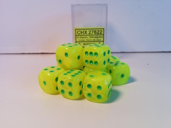 Chessex Dice Sets: Menagerie #8 Electric Yellow/Green Vortex 16mm d6 (12)