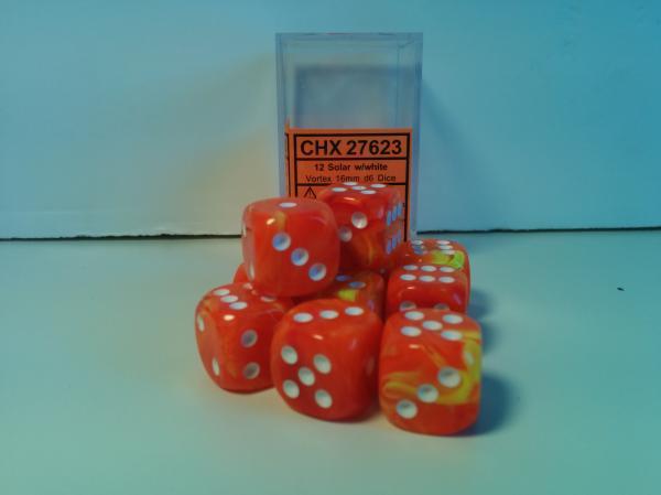 Chessex Dice Sets: Menagerie #8 Electric Solar/White Vortex 16mm d6 (12)