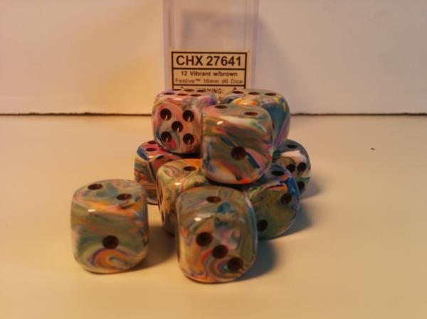 Chessex Dice Sets: Menagerie #8 Vibrant/Brown Festive 16mm d6 (12)