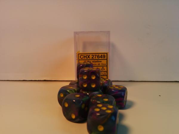Chessex Dice Sets: Menagerie #8 Rio/Yellow Festive 16mm d6 (12)
