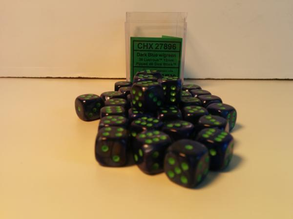Chessex Dice Sets: Menagerie #8 Dark Blue w/Green Lustrous12mm d6 (36)