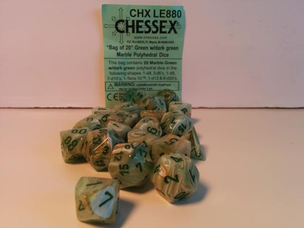Chessex Bulk Dice Sets: Menagerie#8 Marble Green/Dark Green (20)