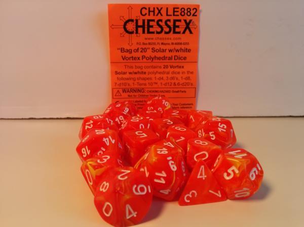 Chessex Bulk Dice Sets: Menagerie# 8 Vortex Solar w/White Bag of 20