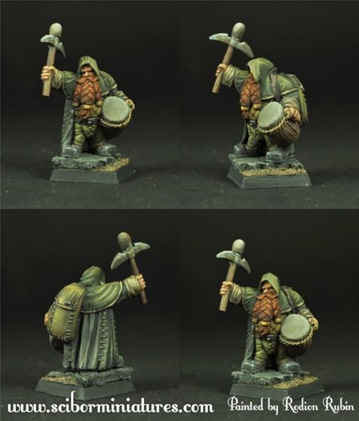 28mm Fantasy Miniatures: Dwarf Miner Drummer