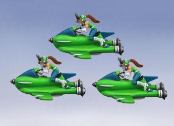 Retro Raygun: Valkeeri Rocket Sled Squadron (3 models)