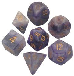 Resin Dice: 16mm Blue/White with Gold Numbers Combo Attack Dice Set