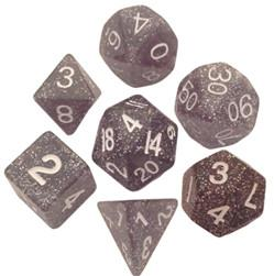 Resin Dice: 16mm Ethereal Black with White Numbers Dice Set