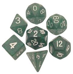 Resin Dice: 16mm Ethereal Green with White Numbers Dice Set