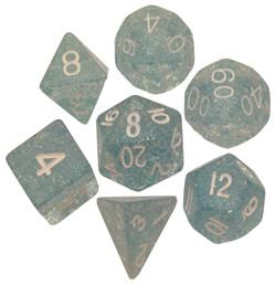 Resin Dice: 16mm Ethereal Light Blue with White Numbers Dice Set