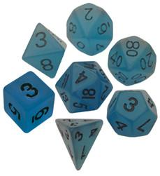 Resin Dice: 16mm Blue Glow in the Dark Dice Set