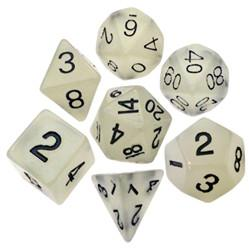 Resin Dice: 16mm Clear Glow in the Dark Dice Set
