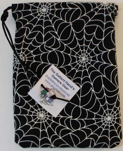 Glow-in-the-dark Spider Webs Cotton Dice Bag (5'' X 7'')