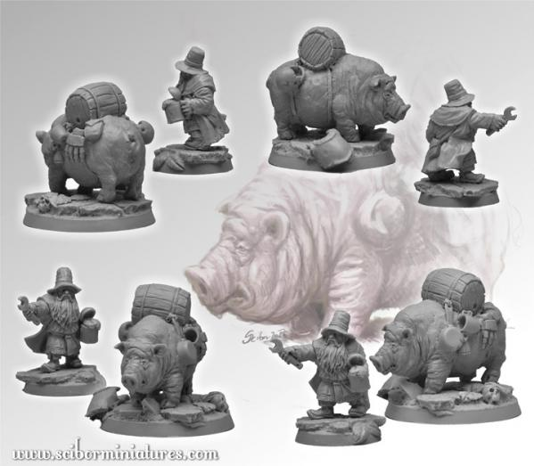 28mm Fantasy Football: 28mm/30mm Dwarven Medic & Pig Ambulance (2)