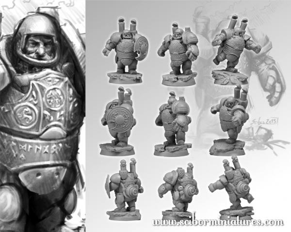 28mm Fantasy Football: 28mm/30mm Dwarves Steam Players Set (3)