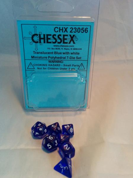 Chessex RPG Dice Sets: Transparent Mini-Polyhedral Blue/white 7-Die Set
