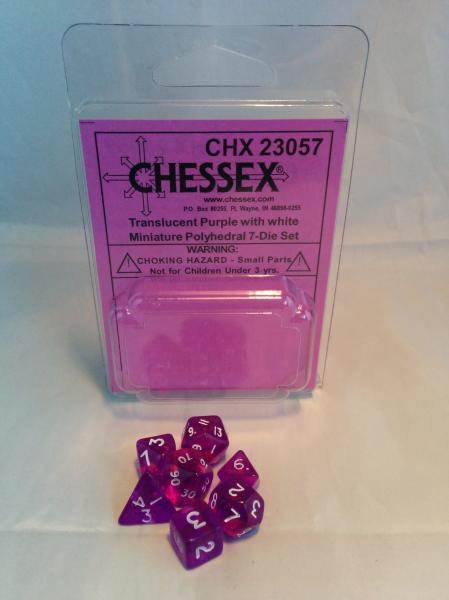 Chessex RPG Dice Sets: Transparent Mini-Polyhedral Purple/white 7-Die Set