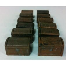 28mm Hand Painted Terrain Accessories: Small Wooden Chest  (Set of 12)
