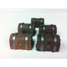 28mm Hand Painted Terrain Accessories: Wooden Chest  (Set of 5)