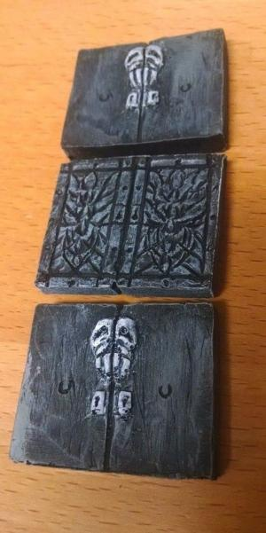 28mm Hand Painted Terrain Accessories: Double Crypt Door (Set of 3)
