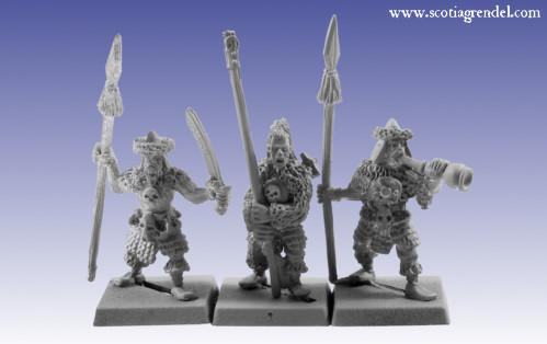 Grendel Metal Figures: Barbarian Spearmen Command