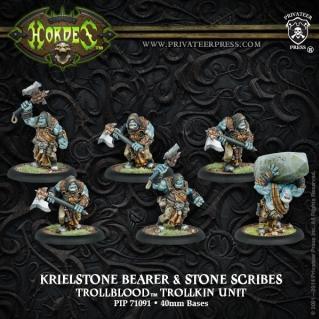 Hordes: (Trollbloods) Krielstone Bearer & Stone Scribes (6)
