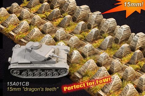 Cama Scenics (15mm WWII): Dragon Teeth Anti-Tank Obstacle
