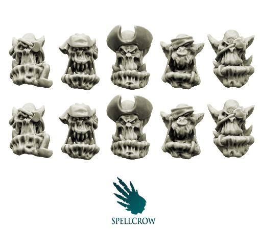 28mm Sci-Fi - Orcs: Bulky Freebooters Orcs Heads