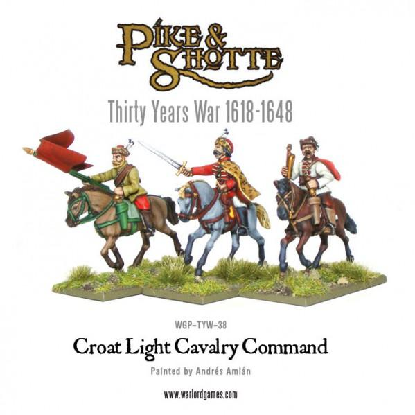 28mm Pike & Shotte: Croat Cavalry  Command [Blister]