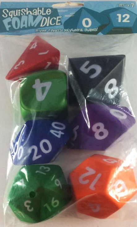 Game Accessories: Squishy Polyhedral 7-Die Set (Multi-Colored)