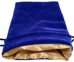 Dice Bags: Blue Velvet Dice Bag with Gold Satin Lining (4''x6'')