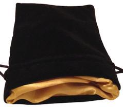 Dice Bags: Black Velvet Dice Bag with Gold Satin Lining (4''x6'')