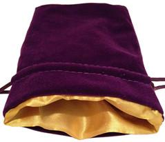 Dice Bags: Purple Velvet Dice Bag with Gold Satin Lining (4''x6'')