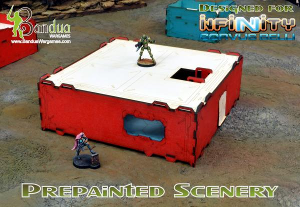Bandua Accessories: Prepainted Modular Building (Red & White)