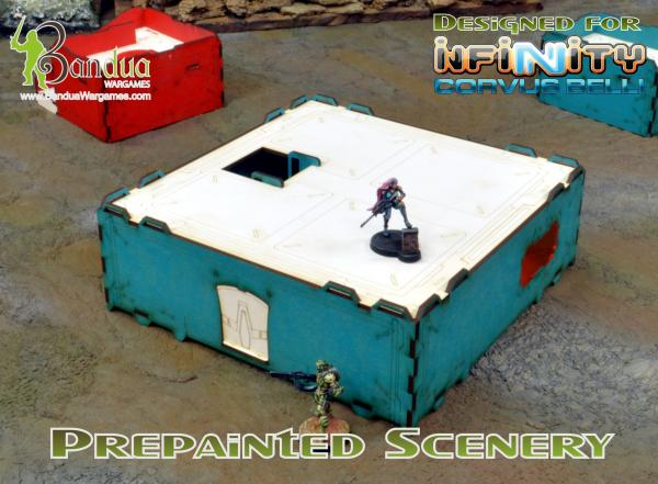 Bandua Accessories: Prepainted Modular Building (Turquoise & White)