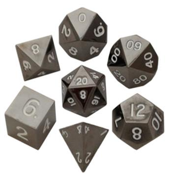 Metallic Dice: Sterling Gray Metal Polyhedral Dice Set 16mm