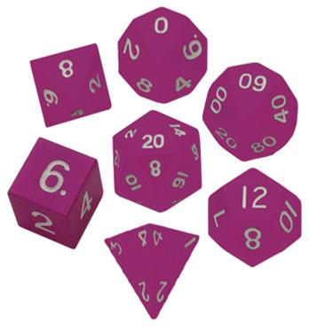 Metallic Dice:  Pink Painted Metal Polyhedral Dice Set 16mm