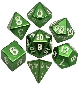 Metallic Dice: Green Painted Metal Polyhedral Dice Set 16mm