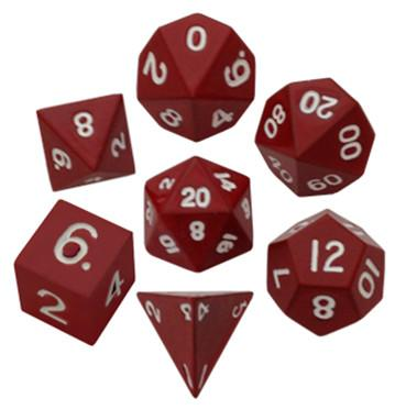 Metallic Dice: Red Painted Metal Polyhedral Dice Set 16mm