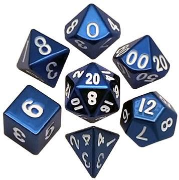 Metallic Dice: Blue Painted Metal Polyhedral Dice Set 16mm