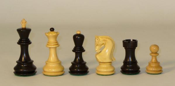 Chess Pieces: Old Russian Chessmen: Black/Natural (King Height: 3-3/4'')